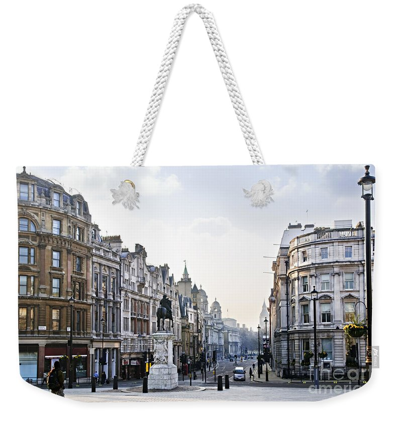 London Weekender Tote Bag featuring the photograph Charing Cross In London by Elena Elisseeva