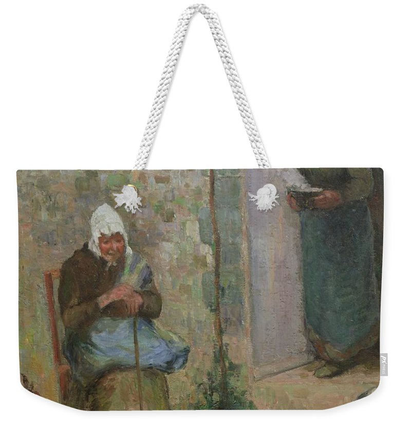 Charity Weekender Tote Bag featuring the painting Charity by Camille Pissarro