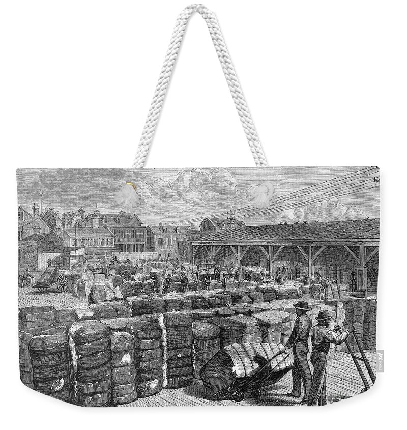 1878 Weekender Tote Bag featuring the photograph Charleston: Cotton Wharf by Granger