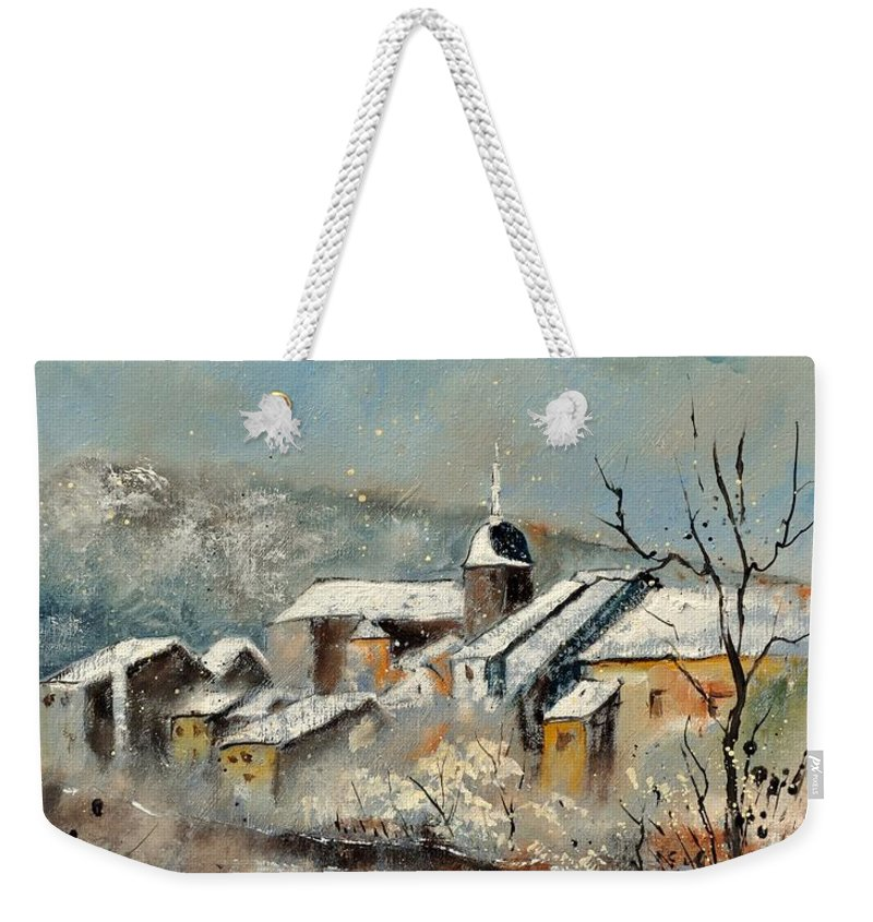 Landscape Weekender Tote Bag featuring the painting Chassepierre by Pol Ledent