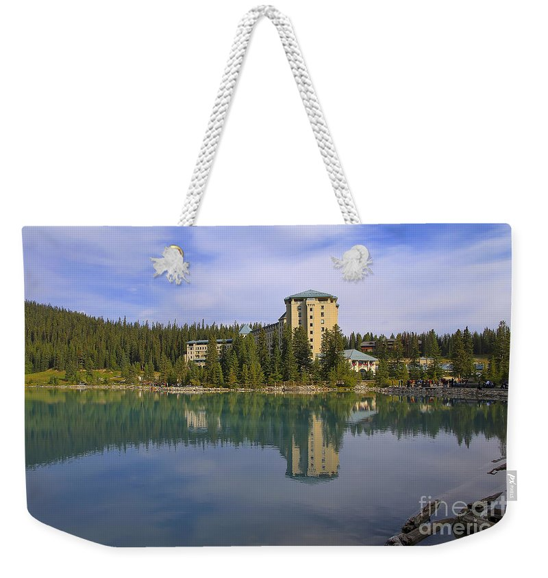 Lake Louise Weekender Tote Bag featuring the photograph Chateau Lake Louise by Teresa Zieba