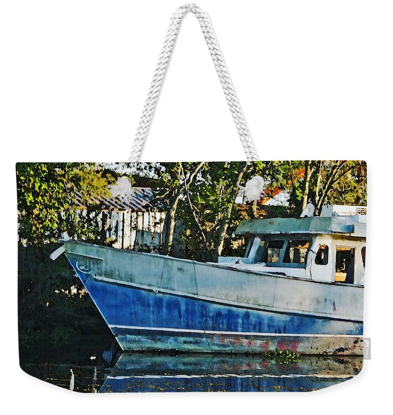 Fishing Boat Weekender Tote Bag featuring the photograph Chauvin La Blue Bayou Boat by Lizi Beard-Ward