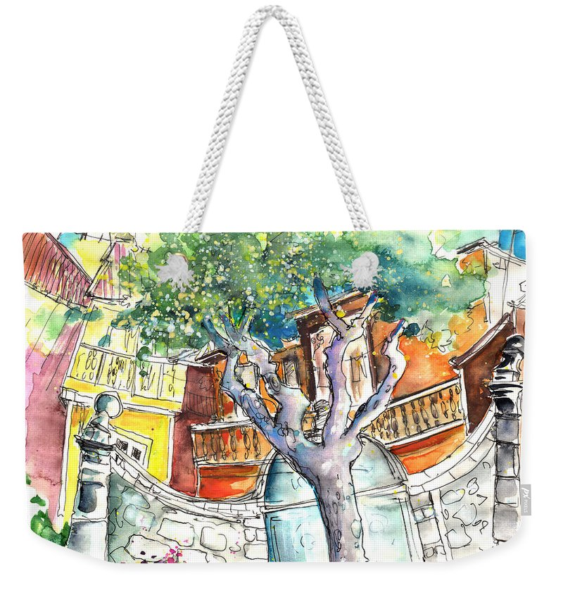 Travel Weekender Tote Bag featuring the painting Chaves In Portugal 03 by Miki De Goodaboom