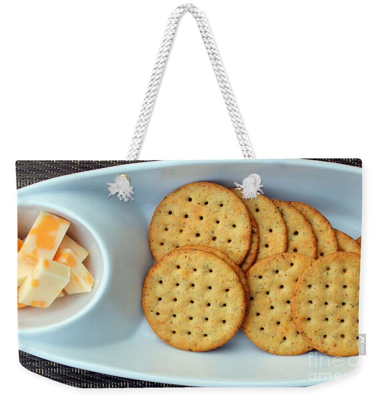 Cheese Weekender Tote Bag featuring the photograph Cheese And Crackers by Barbara Griffin