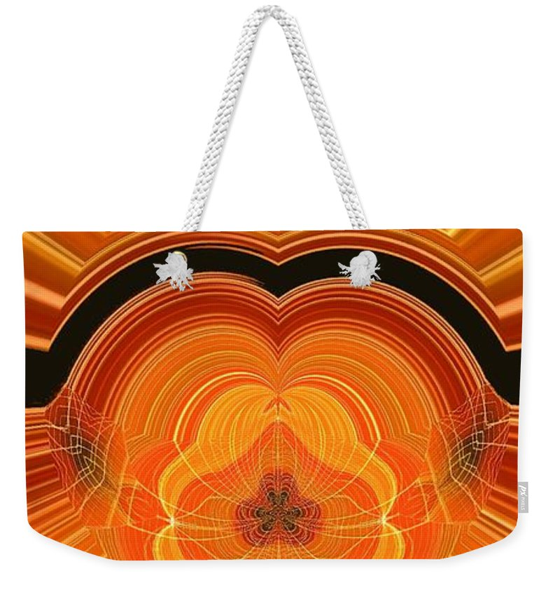 Abstract Weekender Tote Bag featuring the digital art Cheese Cloth Sunrise by Ron Bissett
