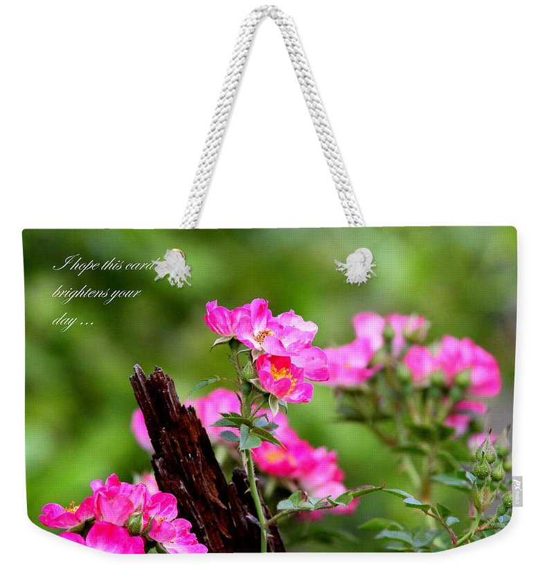 Flower Weekender Tote Bag featuring the photograph Cherokee Rose Card - Flower by Travis Truelove