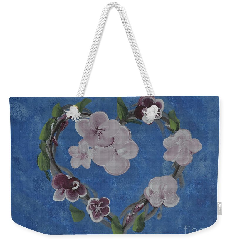 Painting Weekender Tote Bag featuring the painting Cherry Blossom Heart by Donna Brown