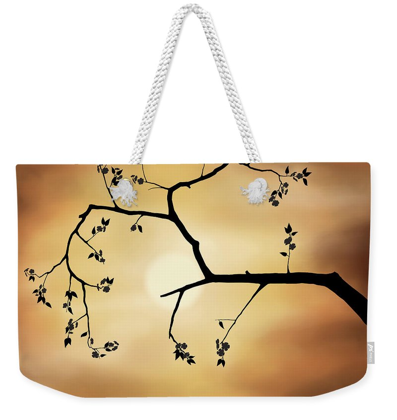 Cherry Blossom Weekender Tote Bag featuring the photograph Cherry Blossom Over Dramatic Sky by Oleksiy Maksymenko