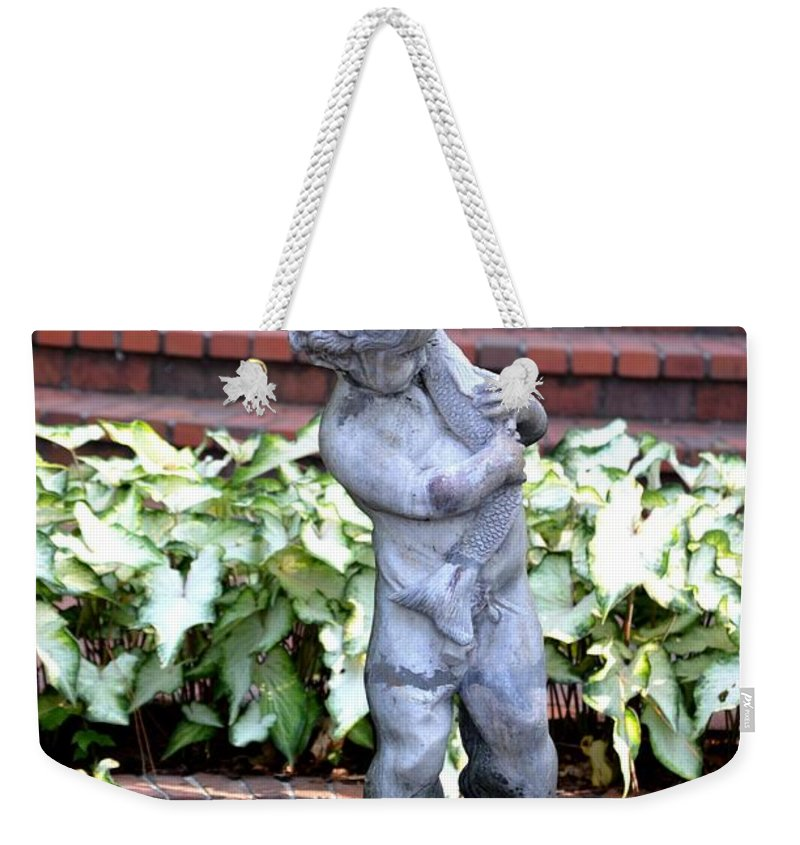 Cherub Weekender Tote Bag featuring the photograph Cherub At The Pond by Maria Urso