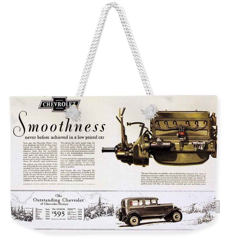 1929 Weekender Tote Bag featuring the photograph Chevrolet Ad, 1929 by Granger