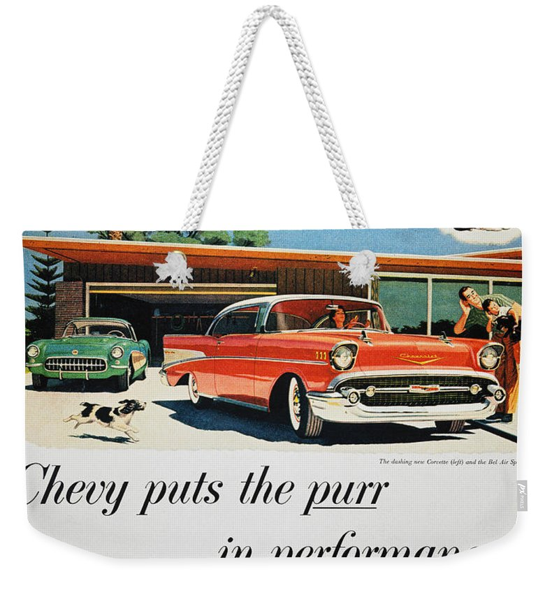 1957 Weekender Tote Bag featuring the photograph Chevrolet Ad, 1957 by Granger