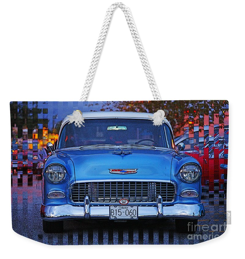 Cars Weekender Tote Bag featuring the photograph Chevy Front End by Randy Harris