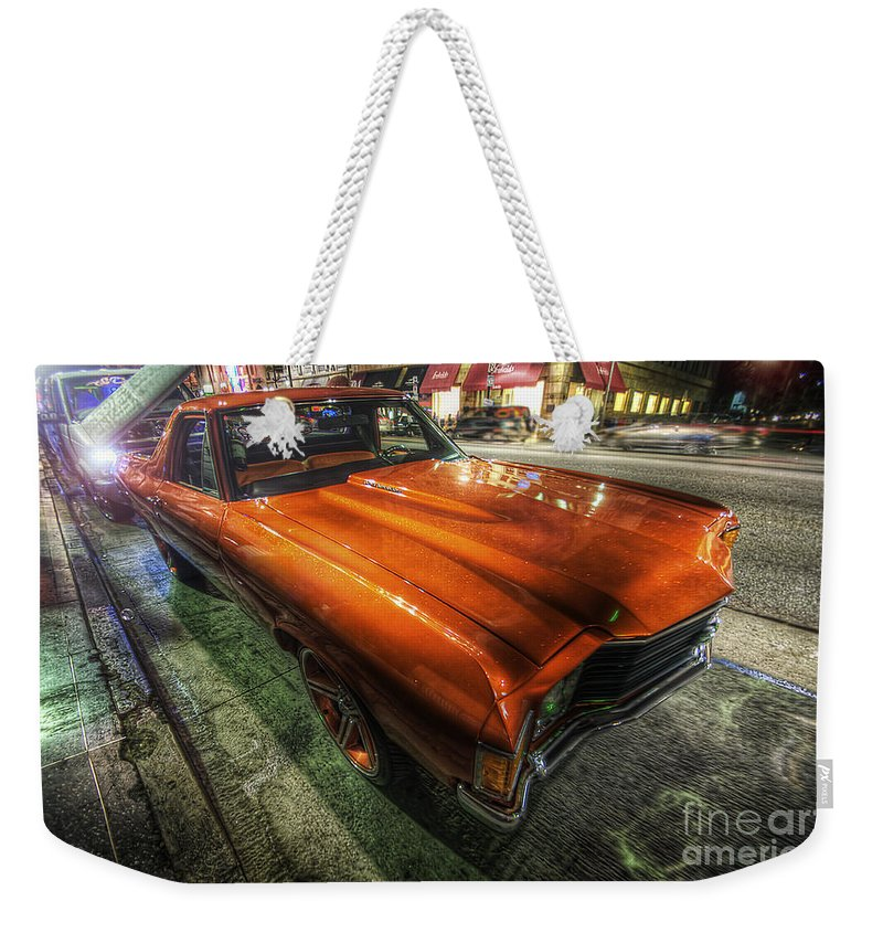 Yhun Suarez Weekender Tote Bag featuring the photograph Chevy Impala by Yhun Suarez