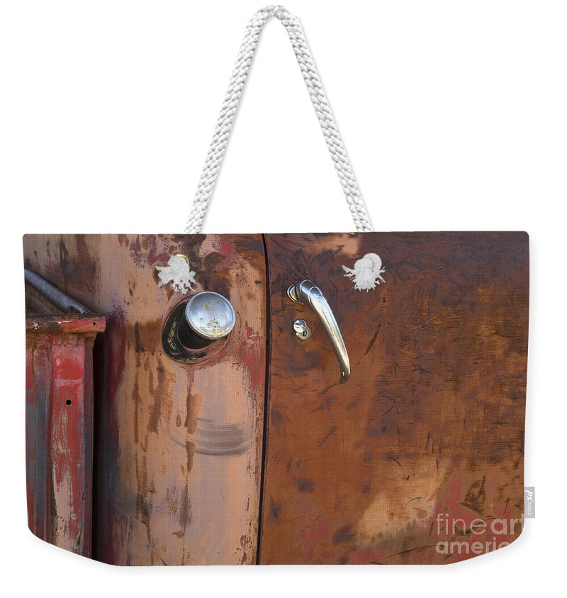 Chevy Truck Weekender Tote Bag featuring the photograph Chevy Truck Door Handle Detail by Bob Christopher