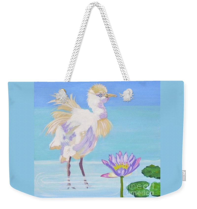 Chick Weekender Tote Bag featuring the painting Chick And Water Lily by Phyllis Kaltenbach