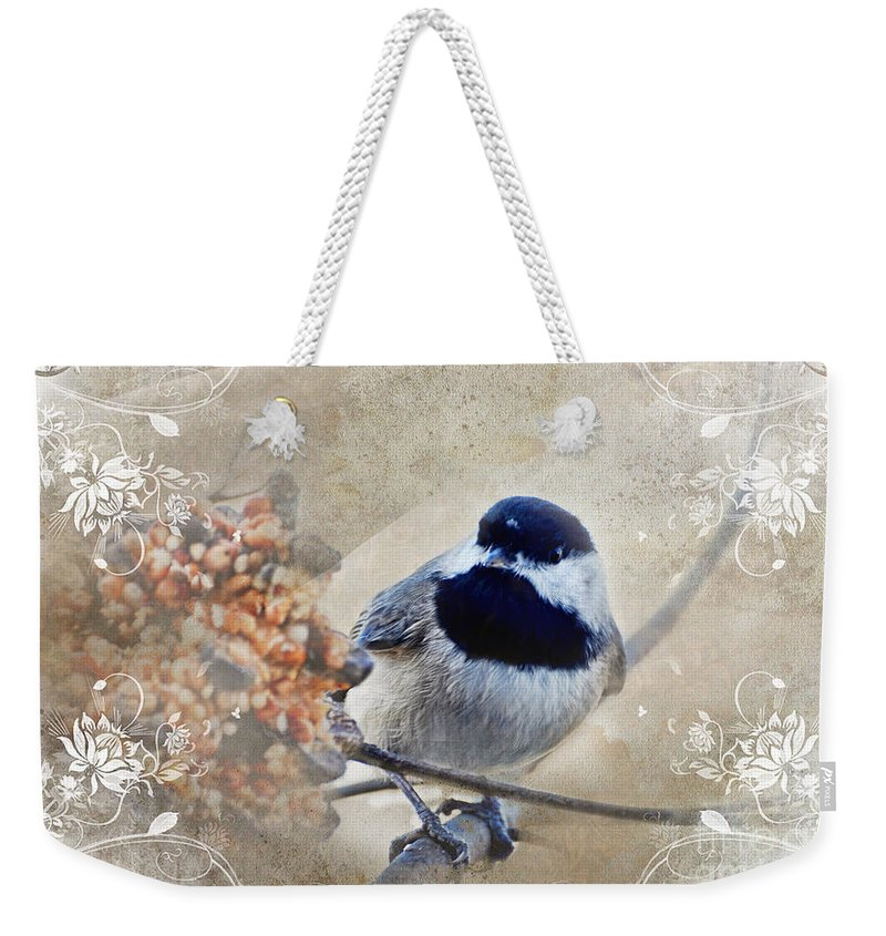 Nature Weekender Tote Bag featuring the photograph Chickadee Breakfast With Decorations by Debbie Portwood