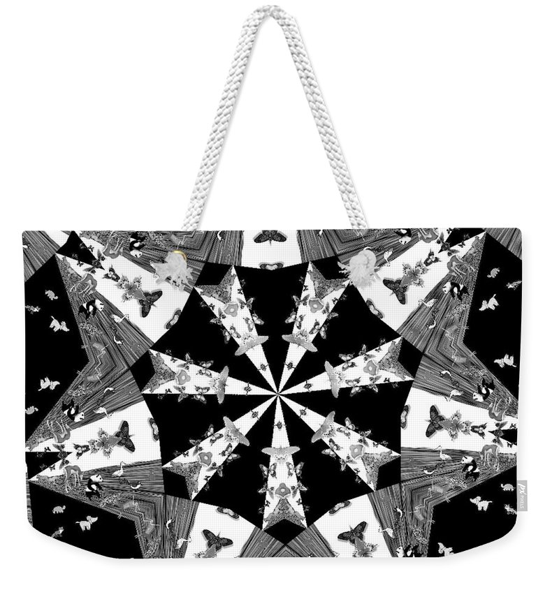 Butterflies Weekender Tote Bag featuring the photograph Children Animals Kaleidoscope Black And White by Donna Brown