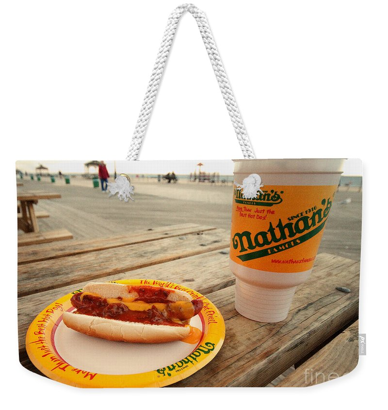 Chilli Weekender Tote Bag featuring the photograph Chilli Dawg by Rob Hawkins
