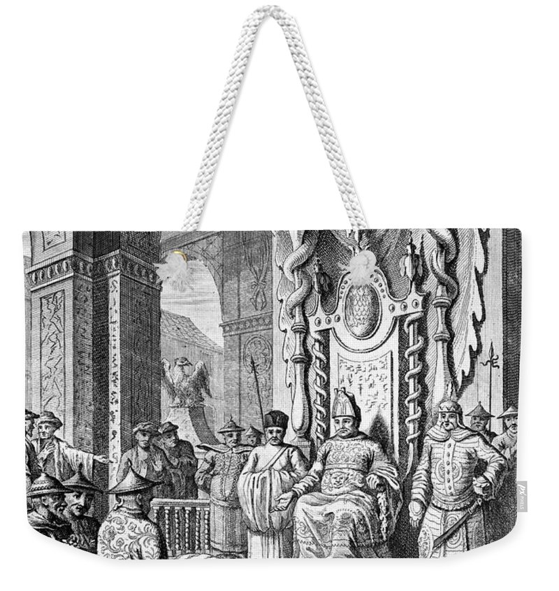 1600 Weekender Tote Bag featuring the photograph China: Paying Tribute, C1600 by Granger