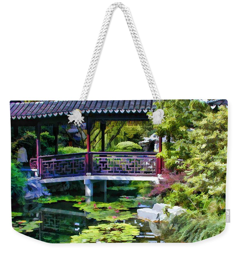 Chinese Weekender Tote Bag featuring the painting Chinese Gardens In Portland Oregon by Elaine Plesser