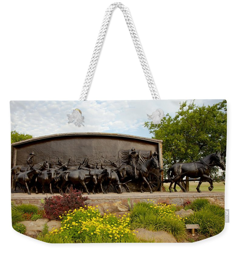 Landscape Weekender Tote Bag featuring the photograph Chisholm Trail Monument by Toni Hopper