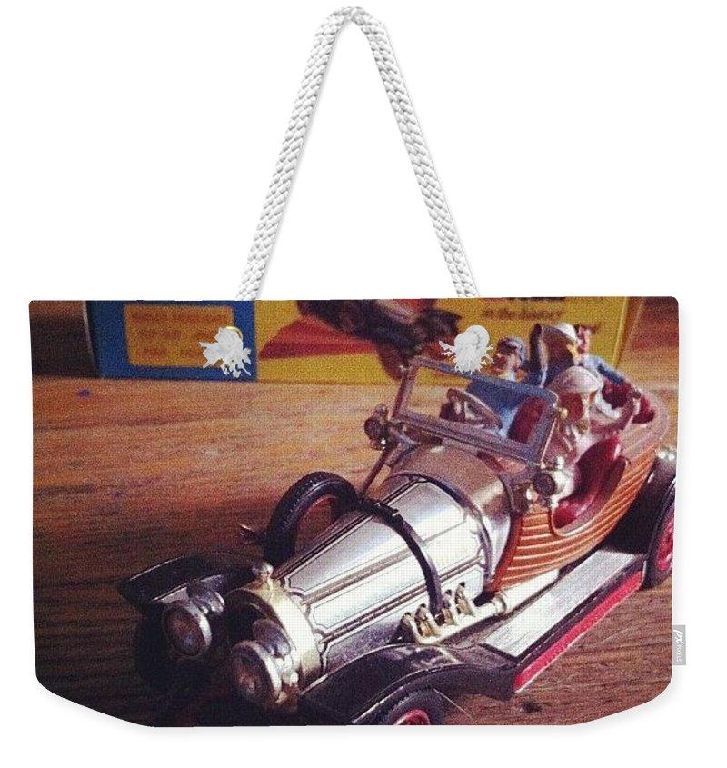 Car Weekender Tote Bag featuring the photograph Chitty Chitty Bang Bang Corgi Toy by Katie Cupcakes