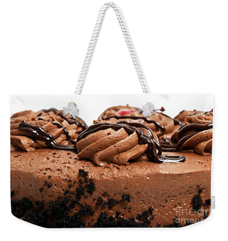 Chocolate Weekender Tote Bag featuring the photograph Chocolate Cake With A Cherry On Top 3 by Andee Design