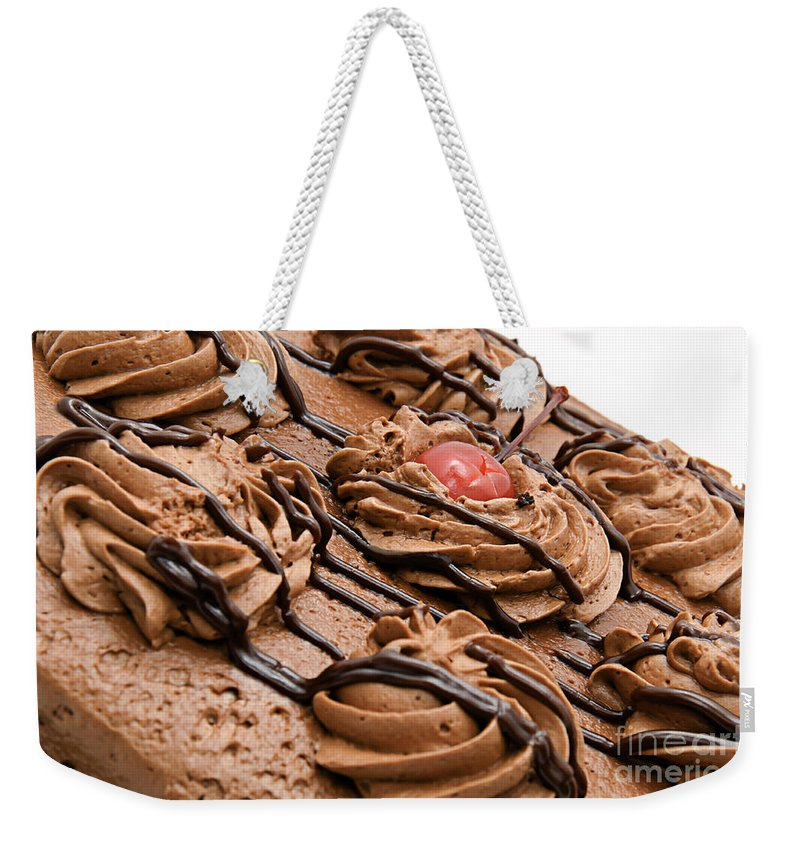Chocolate Cake Weekender Tote Bag featuring the photograph Chocolate Cake With A Cherry One Top 1 by Andee Design