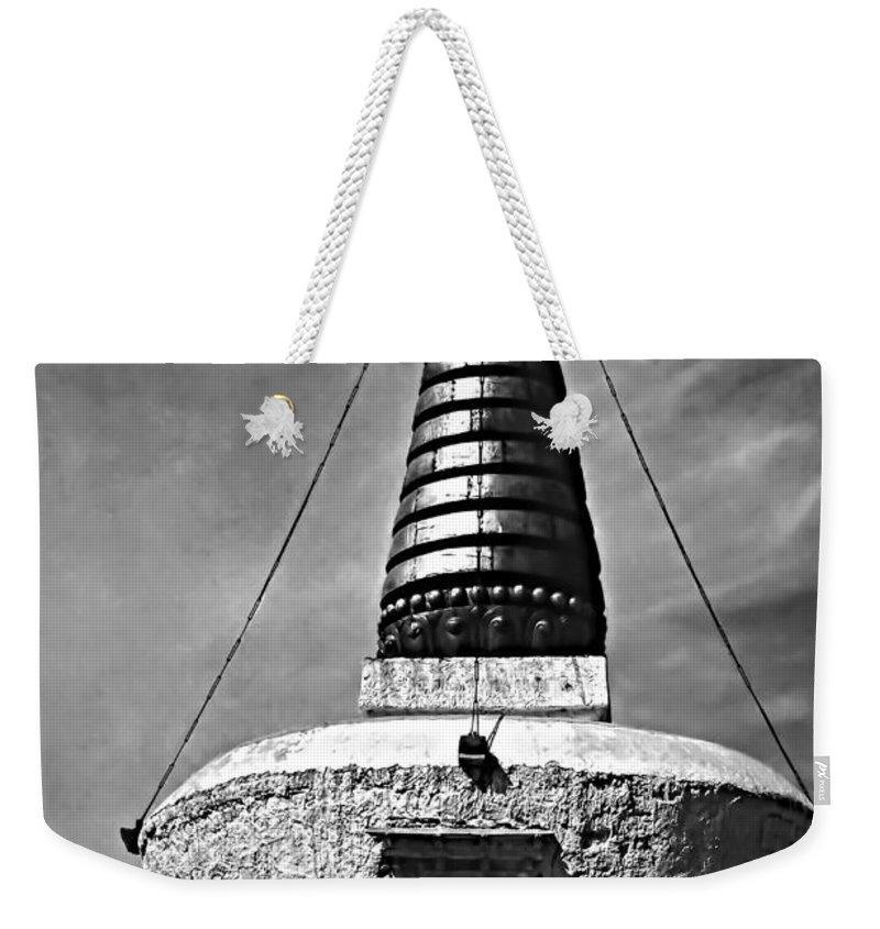 Chorten Weekender Tote Bag featuring the photograph Chorten Monochrome by Steve Harrington