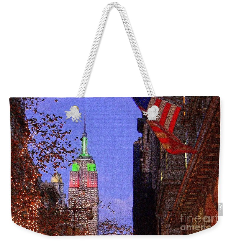 Nyc Weekender Tote Bag featuring the photograph Christmas In New York by Mark Gilman
