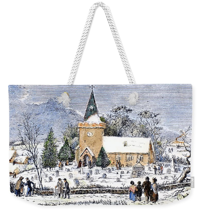 1837 Weekender Tote Bag featuring the photograph Christmas Morning, 1837 by Granger