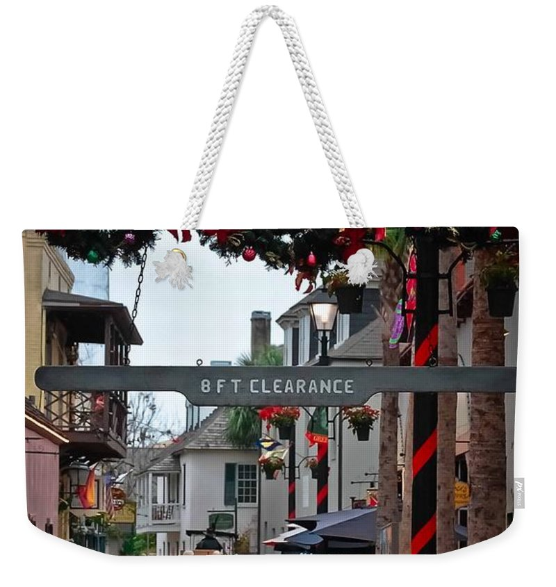 St Augustine Weekender Tote Bag featuring the photograph Christmas On Aviles Street by DigiArt Diaries by Vicky B Fuller