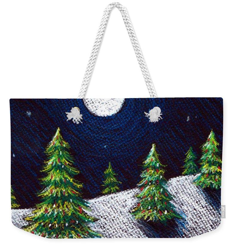 Pastels Weekender Tote Bag featuring the drawing Christmas Trees II by Nancy Mueller
