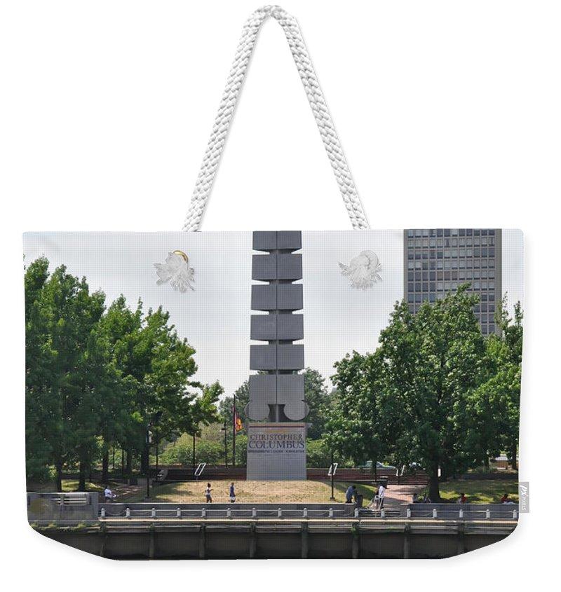 Christopher Columbus Memorial - Philadelphia Weekender Tote Bag featuring the photograph Christopher Columbus Memorial - Philadelphia by Bill Cannon