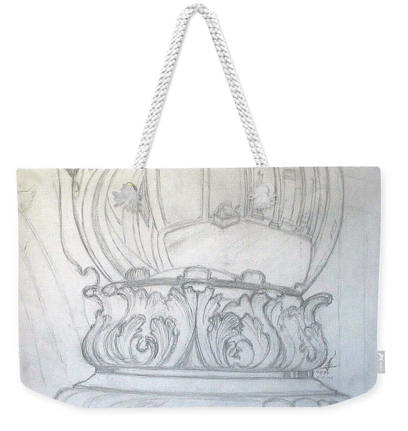 Ball Weekender Tote Bag featuring the drawing Chrome Ball at M.I.C.A. by Robert Fenwick May Jr