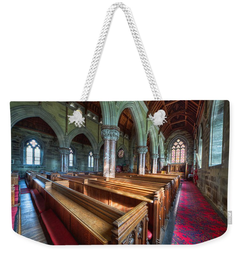 Church Weekender Tote Bag featuring the photograph Church Benches by Adrian Evans