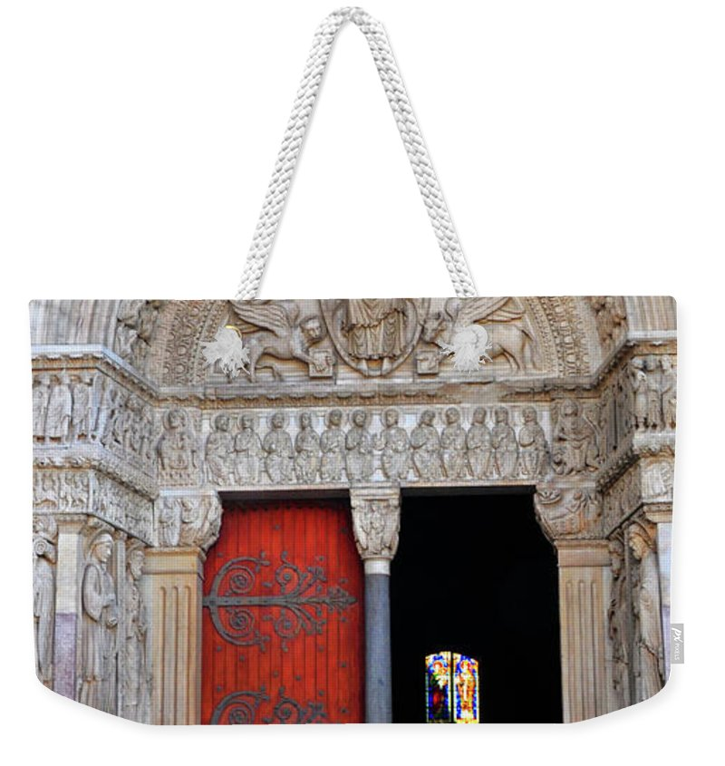 Church Weekender Tote Bag featuring the photograph Church Entrance Arles France by Dave Mills