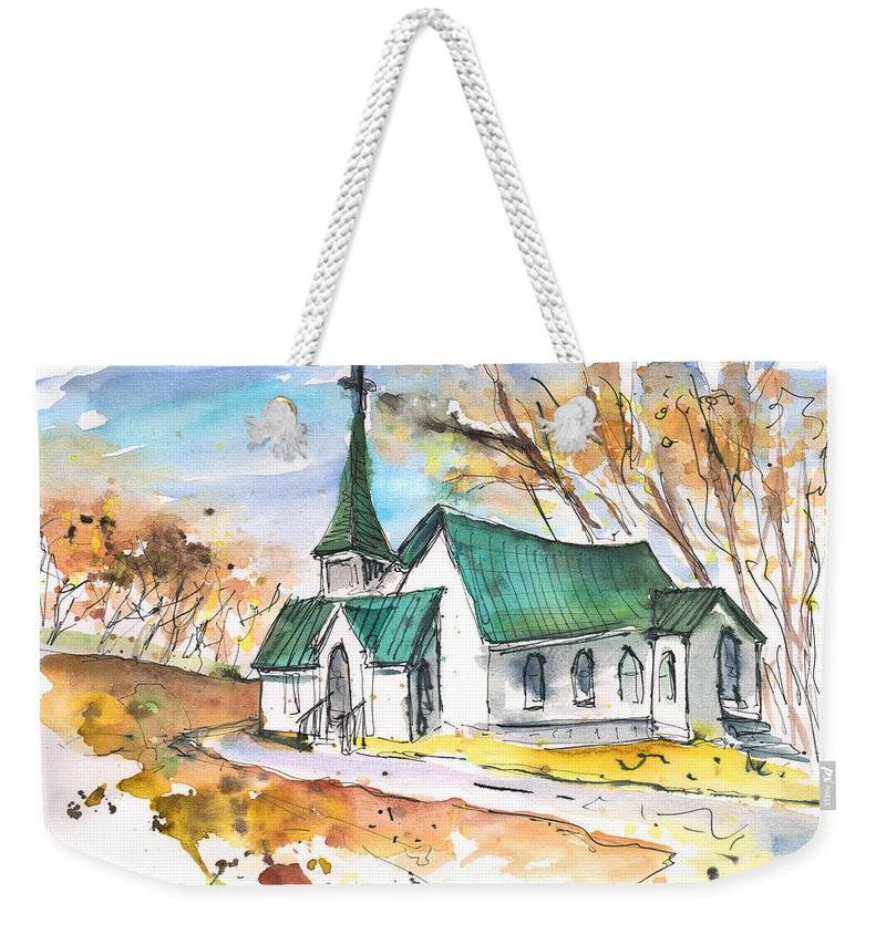 Travel Sketch Weekender Tote Bag featuring the painting Church In Friars Point Mississippi by Miki De Goodaboom