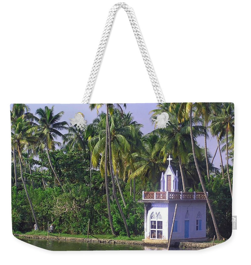 Church Weekender Tote Bag featuring the photograph Church Located On A Coastal Lagoon In Kerala In India by Ashish Agarwal