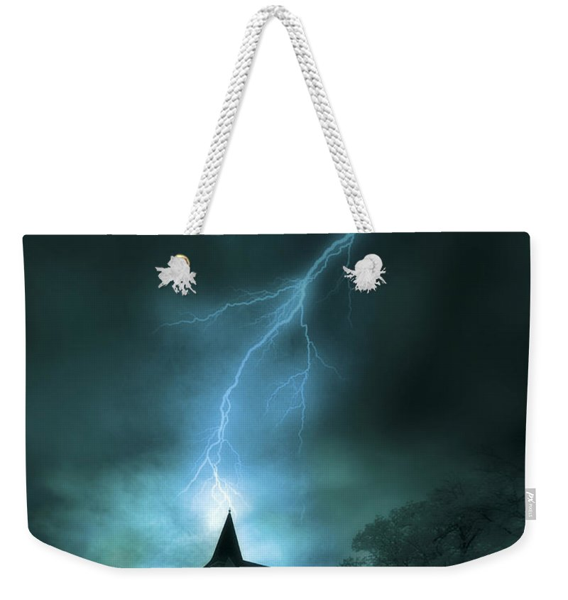 Church Weekender Tote Bag featuring the photograph Church Struck By Lightning by Jill Battaglia