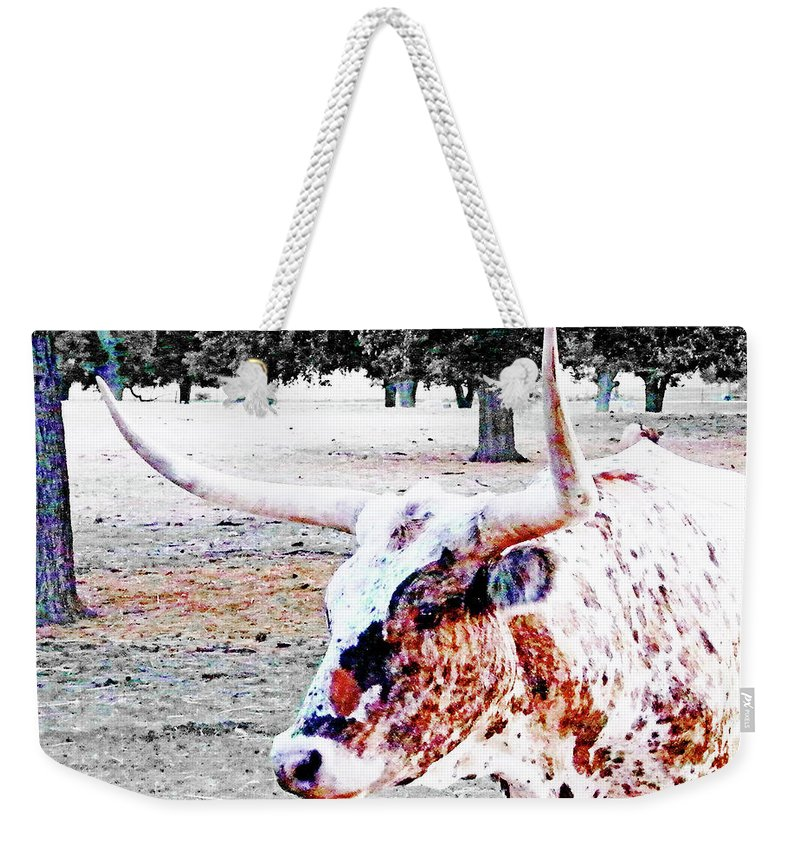 Steer Weekender Tote Bag featuring the digital art Cibolo Ranch Steer by Lizi Beard-Ward