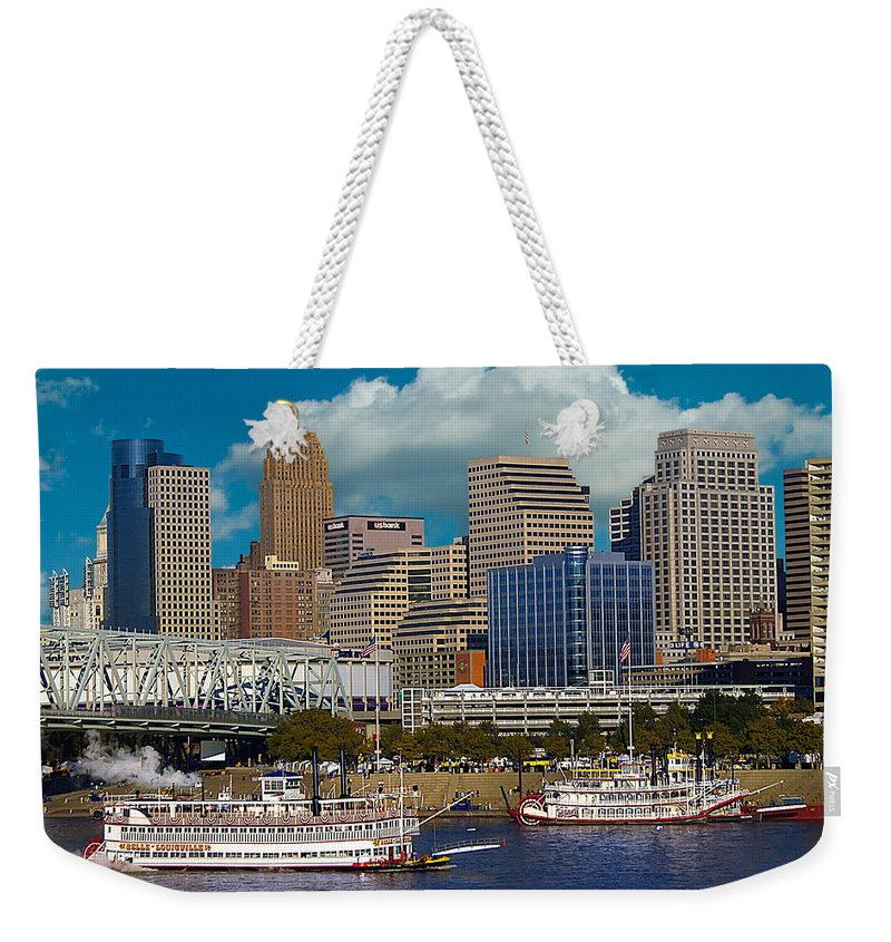 Blue Weekender Tote Bag featuring the photograph Cincinnati Tall Stacks by Randall Branham