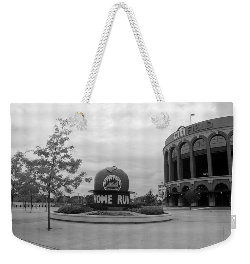 Shea Stadium Weekender Tote Bag featuring the photograph CITI FIELD in BLACK AND WHITE by Rob Hans