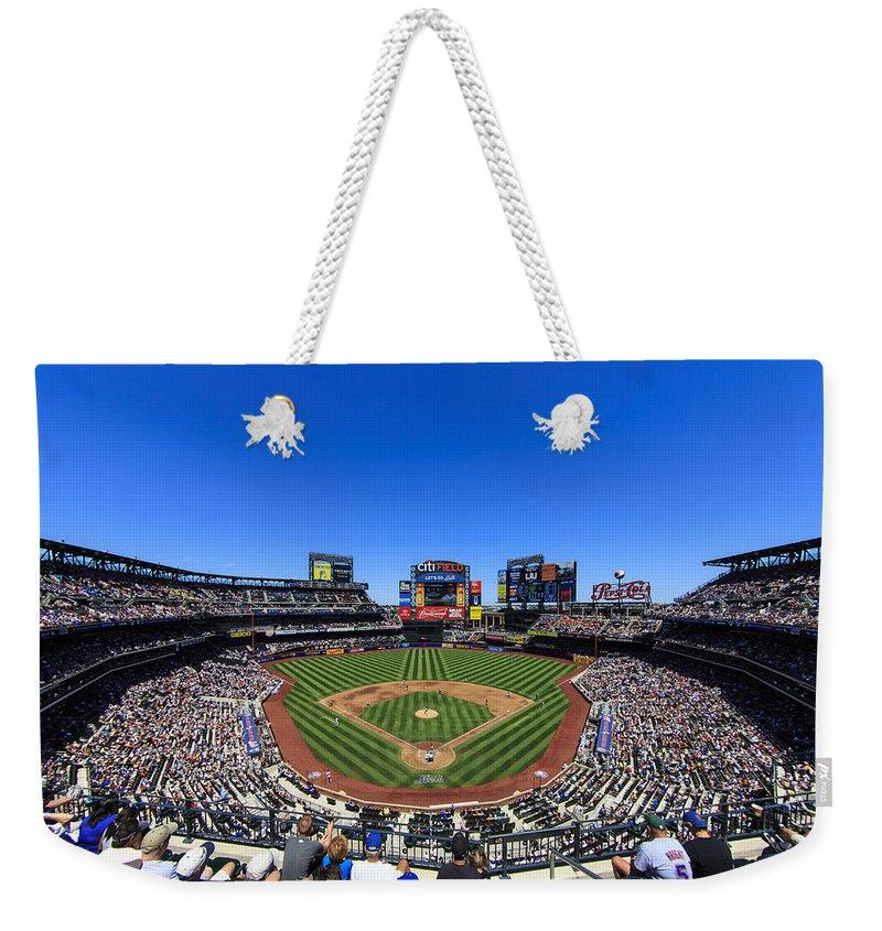 Stadium Weekender Tote Bag featuring the photograph Citifield by Rick Berk