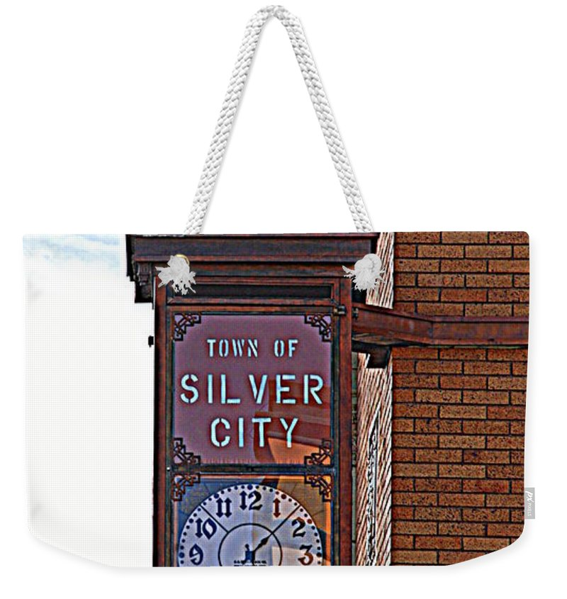 Clock Weekender Tote Bag featuring the photograph City Clock In Silver City Nm by Susanne Van Hulst