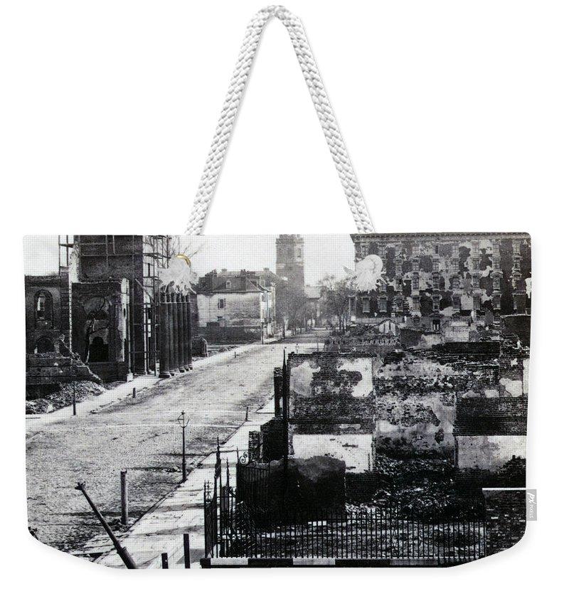 charleston South Carolina Weekender Tote Bag featuring the photograph Civil War Damaged Charleston South Carolina - Meeting Street - C 1865 by International Images
