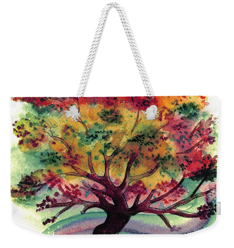 Watercolor Weekender Tote Bag featuring the painting Clad In Color by Brenda Owen