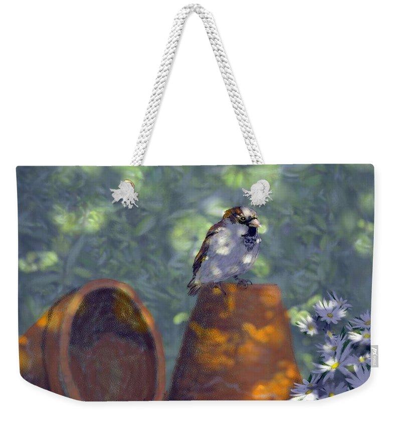 Garden Weekender Tote Bag featuring the digital art Clay Pot Sparrow by Barb Kirpluk