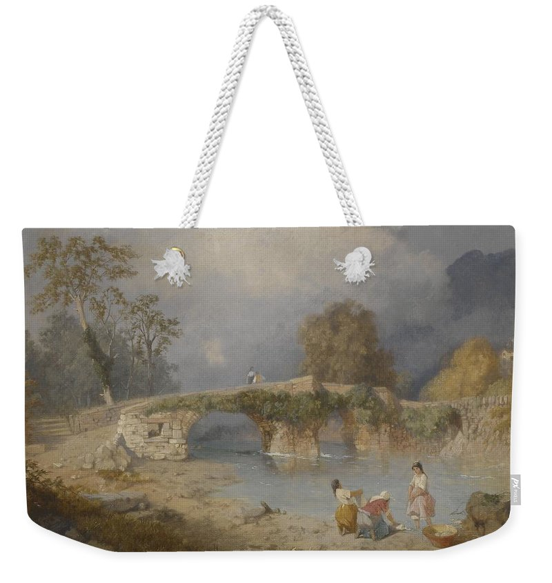 River Weekender Tote Bag featuring the painting Clearing Up For Fine Weather Beddgelert North Wales 1867 by James Baker Pyne