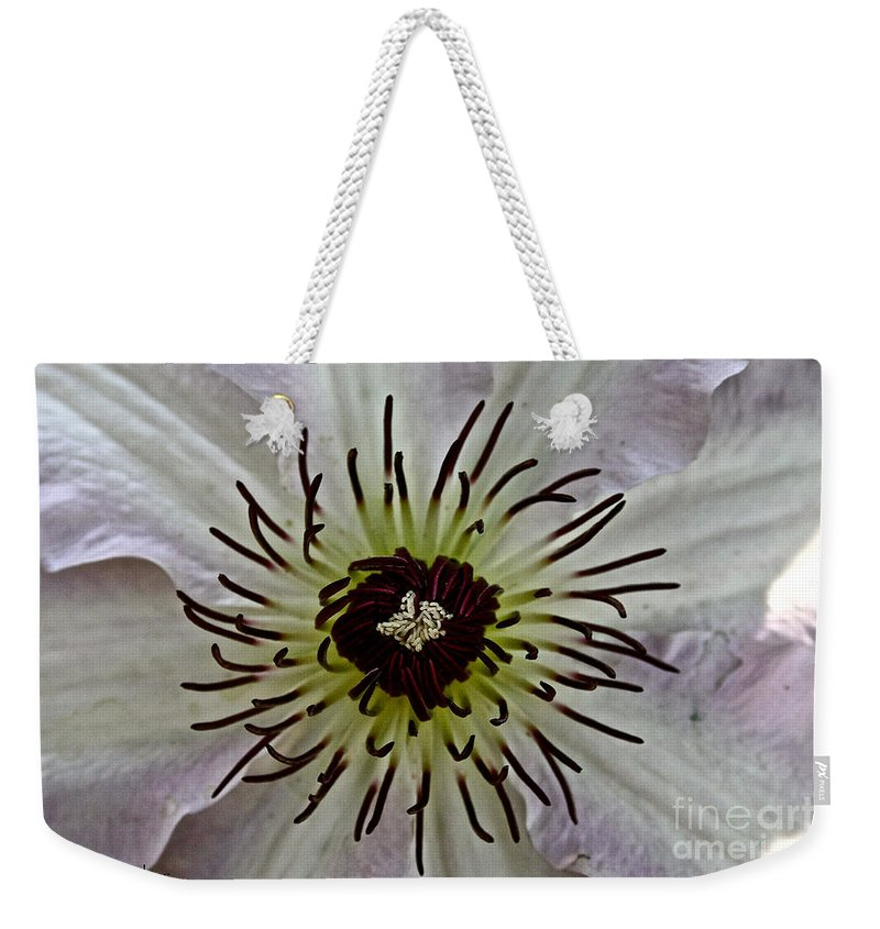 Plant Weekender Tote Bag featuring the photograph Clematis Stamen by Susan Herber